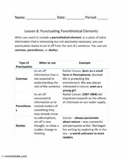 Interactive worksheet Lesson 8: Punctuating Parenthetical Elements