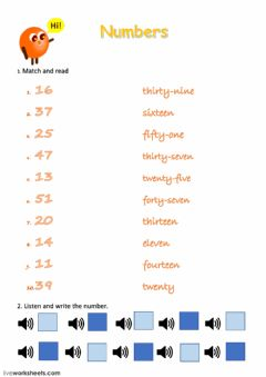 Interactive worksheet Numbers 12-50
