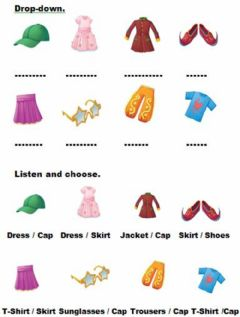 Interactive worksheet Clothes. drop-down--listen and choose