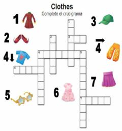 clothes. complete the crossword worksheet preview