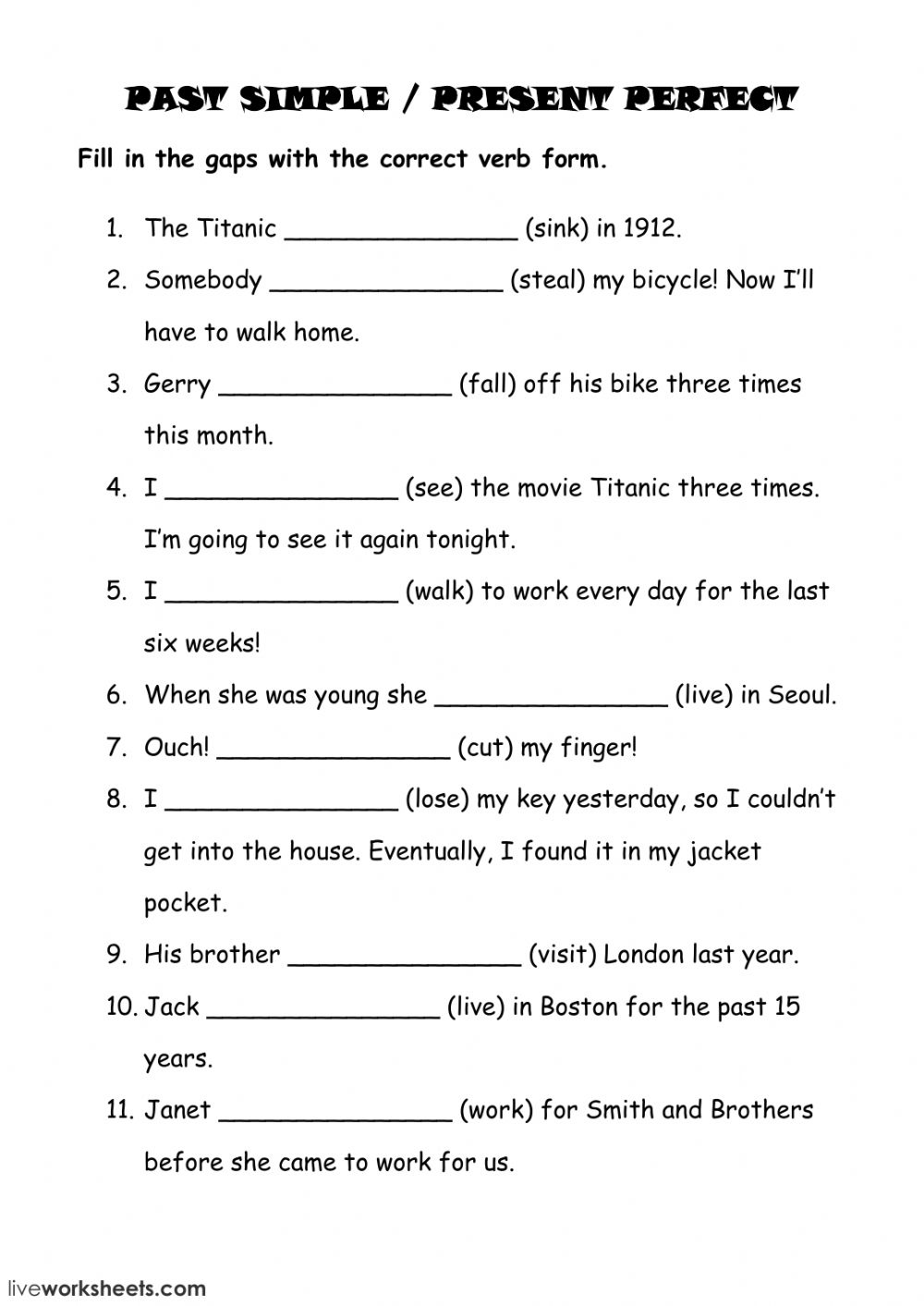present simple and past simple exercises pdf