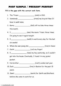Simple Past or Present Perfect worksheet preview