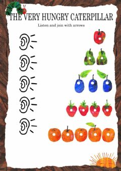 The Very Hungry Caterpillar - Listen and match worksheet preview