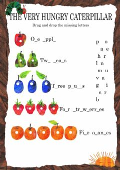 graphic relating to Very Hungry Caterpillar Printable Activities called English Workouts: The amazingly hungry caterpillar