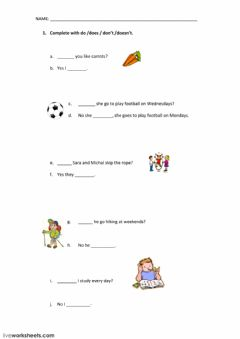 Simple present and simple past worksheet preview