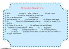 Interactive worksheet Tense revision