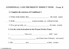 Interactive worksheet Conditional 1 and Present Perfect Simple Group B