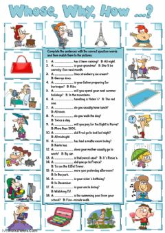 Interactive worksheet Wh-questions practice