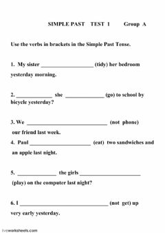 Ficha interactiva The Simple Past Tense  test 1 GROUP A
