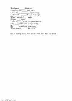 Interactive worksheet Irregular verbs H-M