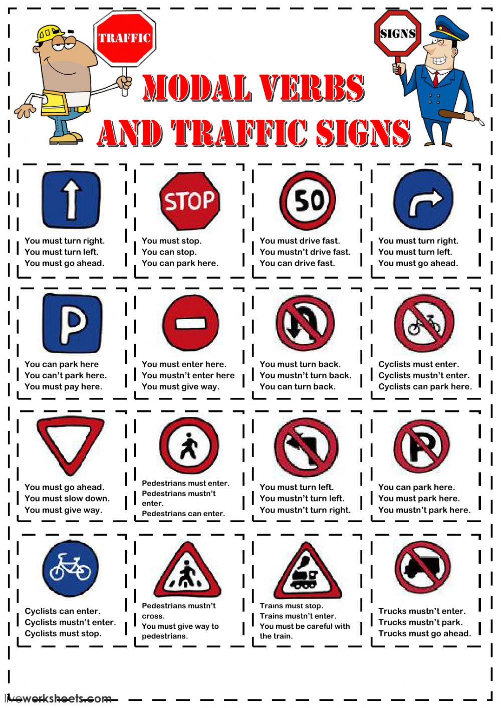Worksheets Traffic Signs Worksheets modal verbs and traffic signs interactive worksheet text