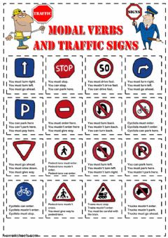 Interactive worksheet Modal Verbs and Traffic Signs