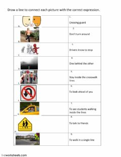 Ficha interactiva Safety Rules: Crossing the Street Safely
