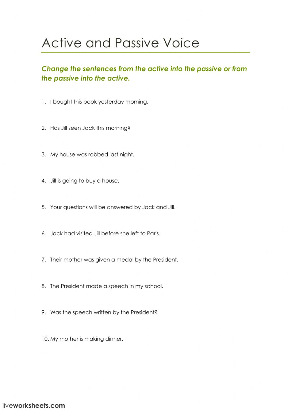 worksheet Active And Passive Voice Worksheets active and passive voice interactive worksheet text
