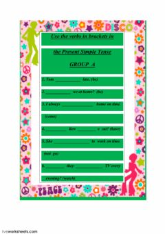 Interactive worksheet The Present Simple Tense group A