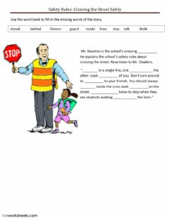 Safety Rules: Crossing the Street Safely worksheet preview