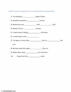 Time Expressions worksheet preview