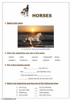 Interactive worksheet Horses