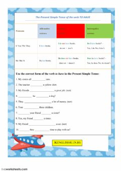Interactive worksheet The Present Simple Tense of the verb TO HAVE
