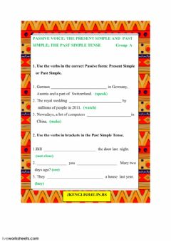 Interactive worksheet The Passive Voice: Present and Past. The Past Simple Tense Group A