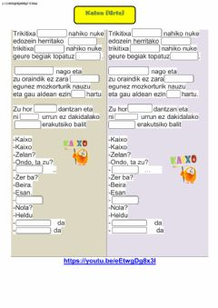 Interactive worksheet Kaixo (Urtz)