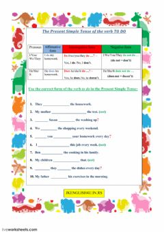 Interactive worksheet The Present Simple Tense of the verb TO DO