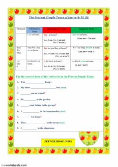 The Present Simple Tense of the verb TO BE worksheet preview