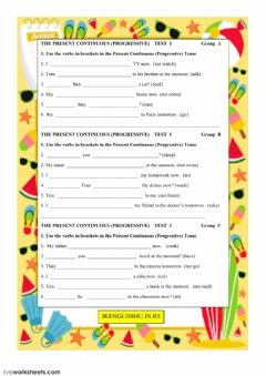 The Present Continuous (Progressive) Tense Test 1 worksheet preview