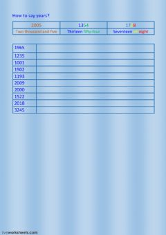 Interactive worksheet How to say years