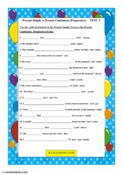 Interactive worksheet The Present Simple Tense vs The Present Continuous (Progressive) Tense Test 1