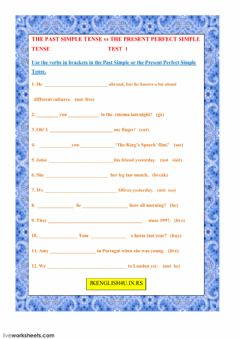 The Past Simple Tense vs The Present Perfect Simple Tense Test 1 worksheet preview