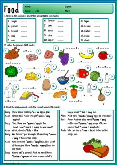 Food - test worksheet preview
