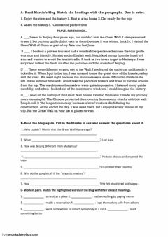Interactive worksheet   9th graders 7th unit World itself is the wonder