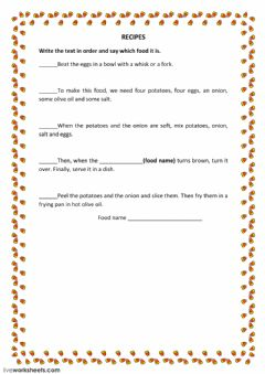 Interactive worksheet Spanish omelette