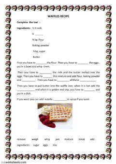 Interactive worksheet waffles recipe