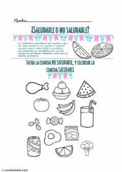 Interactive worksheet Comida saludable y No saludable