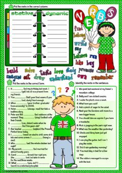 Parts of speech - verbs worksheet preview