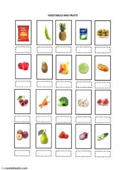 Interactive worksheet Vegetables and fruit test