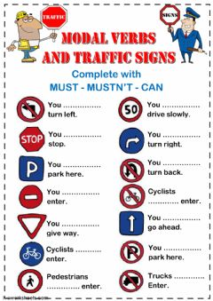 Interactive worksheet Modal Verbs and Traffic Signs 2