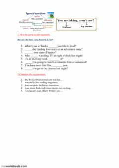 Interactive worksheet Types of questions