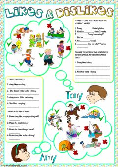 Likes and dislikes worksheet preview