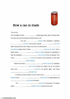 Interactive worksheet How a can is made