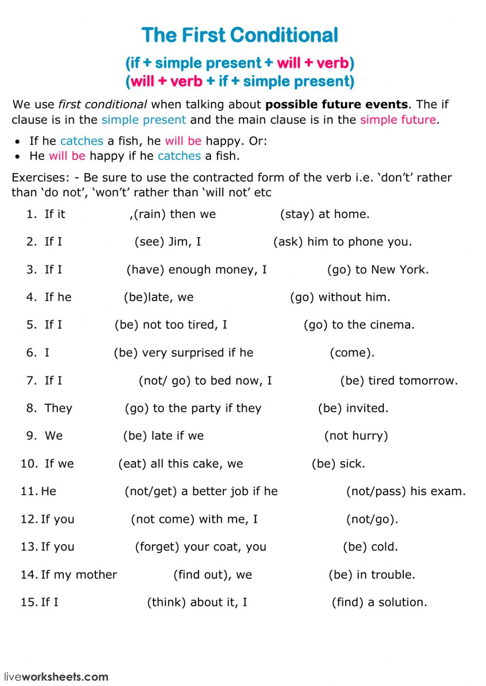 - The First Conditional - Interactive Worksheet