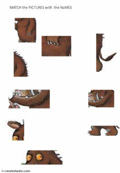 Interactive worksheet THE GRUFFALO - Parts of the BODY