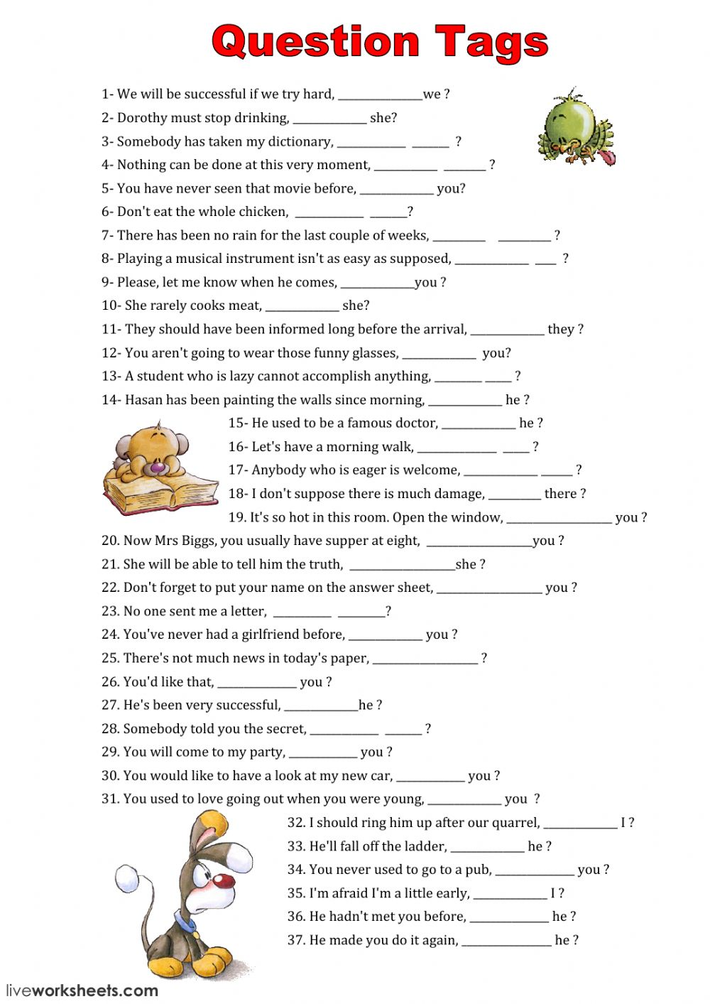 Tag Questions - Interactive worksheet
