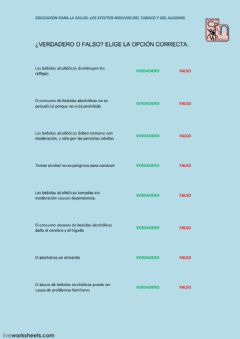 Interactive worksheet verdadero-falso-alcohol