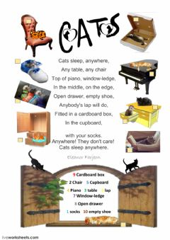 Interactive worksheet Cats sleep anywhere by  Eleanor Farjeon