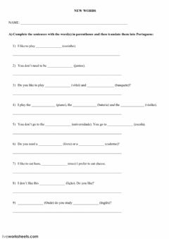 Interactive worksheet L2 Athus English New Words