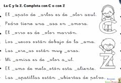 Interactive worksheet Uso de c y z