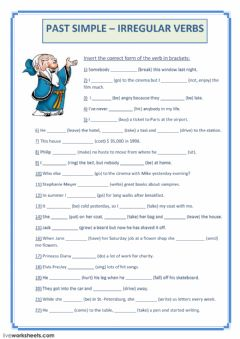 PAST SIMPLE (irregular verbs) worksheet preview